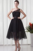 One-Shoulder A-Line Tulle Tea-Length Dress with Ruching