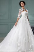 Strapless A-Line Gown With Soft Tulle And Lace Bolero