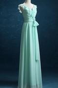 Long Sleeveless Sleeve Chiffon&Satin Dress With Ruffles