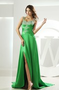 Spaghetti-Straps Front-Split Ruched Gown with Crystal Detailing and Brush Train