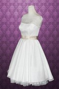 Bateau Knee-Length Satin Wedding Dress With Sash And Cap Sleeve