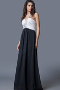 Femme Beaded One-shoulder Flowy Chiffon Prom Gown