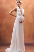 V-Neck Empire Backless Maternity Dress With Flower