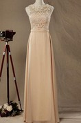 Illusion Lace Top Chiffon Bridesmaid Dress