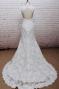 Classic V-Neck Lace Wedding Dress With Empire Waist and Open Back