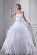 Strapless A-Line Pick-Up Ball Gown with Appliques and Beading