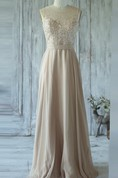 Floor-length Sweetheart Chiffon&Tulle&Lace Dress With Illusion