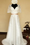 V-Neck Illusion Back Long Satin Wedding Dress With Sash And Flower
