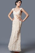 Exquisite Cap Sleeve Draped Form-fitted Lace Gown With Flowers