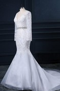 Trumpet V-Neck Long Sleeve Lace Organza Satin Dress With Beading