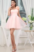 Criss-Cross Tulle A-Line Short Dress with Single Floral Strap