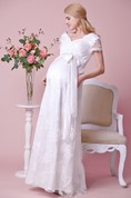 Allover Lace V-neck V-back Cap Sleeved Gown With Satin Bow
