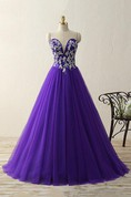 Ball Gown Floor-length Sweetheart Tulle Appliques Dress