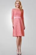 Chic Bateau Neckline A-line Knee Length Lace Dress
