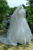 Middleton Style Vintage Wedding Lace Sleeves Fitted Bodice Bridal Gown Dress