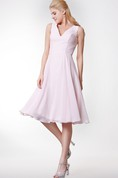 Simple V Neck A-line Tea Length Dress