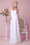 Strapless Empire Waist Lace Long Dress With Satin Bow