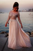 Glamorous Long Sleeve Beadings Prom Dresses 2016 Long Chiffon