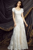 Modest Short Sleeve Lace Wedding Dress