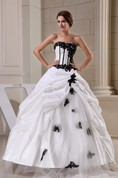 Glamorous Ruffled Strapless Bodice Gown with Lace Appliques and Zipper Back