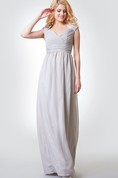 Criss-crossed Ruched A-line Long Chiffon Dress With Key-hole