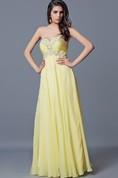 Elegant Strapless Chiffon Dress With Pleated Beaded Sweetheart Bodice
