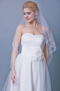 Three Tier Mid Length Veil With Embellished Trim