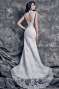 1920's Vintage Style Bridal Gown with Back Keyhole and Chapel Train