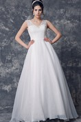 Gorgeous Short Sleeve Low V Neck Organza Ball Gown With Long Train