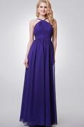 Halter A-line Long Chiffon Dress With Key-hole