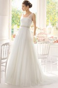 Sleeveless Illusion Straps Long Tulle Dress With Beadings