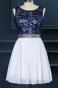 Short Bridesmaid Navy Lace Ivory Bridesmaid Boat Neck Custom Size Color Dress