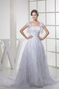 Strapless Tulle A-Line Gown with Appliques and Bolero
