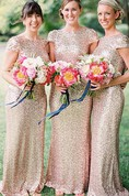 Floor-length Cap Sleeve Satin Dress With Sequins