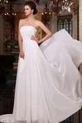 Flaterring Chiffon Empire Gown With Pleating And Sweep Train