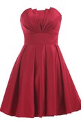Strapless Pleated A-line Dress With Lace-up Back