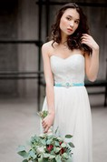 Romantic Long A-Line Chiffon Wedding Dress With Lace Bodice