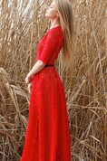 Maxi Red Lace Gown With Skin Color Lining Dress
