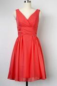 A-line Knee-length V-neck Chiffon&Satin Dress