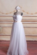 A-Line Tulle Organza Satin Weddig Dress With Bow Zipper