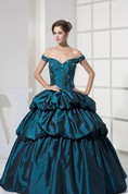 Strapped Pick-Up Ball Gown with Appliques and Corset Back
