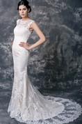 Feminine Lace Overlay Sheath Wedding Dress