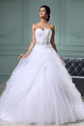A-Line Sweetheart Sleeveless Gown With Lace Sash And Overlay