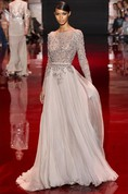 A-line Princess High Neck Long Sleeves Applique Floor-length Chiffon Dress