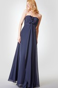 Backless Ruched A-line Long Chiffon Dress With Draping