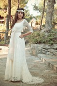 Bohemian Half Sleeve Floor-Length Lace Dress