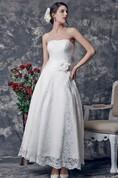 Elegant Sweetheart Tea Length Lace Dress With Flower