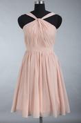 Junior Knee Length Pearl Pink Chiffon Bridesmaid Dress