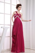Sleeveless Embroideries Floor-Length Dress with Pleats and Beading
