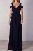 Evening Beautiful Navy Blue Bridal Bustier Maxi Chiffon Prom Full Length Sexy Bridesmaid Dress